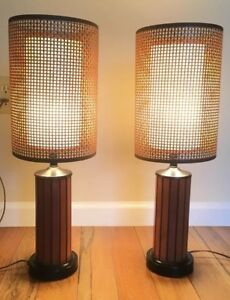 Pair Of Vintage Mid Century Danish Teak Panel Lamps With Rattan Shades 30 Tall