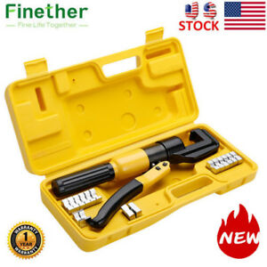 Finether 10 Ton Hydraulic Crimper Plier Crimping Tool With 8 Dies Case Steel Usa