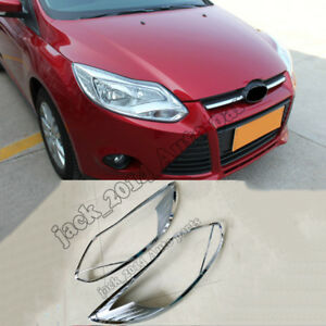 For Ford Focus 2012 2013 2014 2015 Abs Chrome Front Head Light Lamp Cover 2pcs