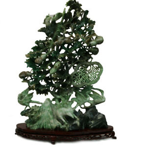 Natural Hand Carved Jade Tree Vintage Good Luck Chinese Collection