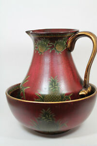Wash Basin Bowl And Pitcher 10 H Pitcher 10 Dia Bowl Red Pineapple Design