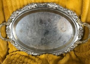 Silver Plated Butlers Tray Floral Plume Border Handles Vintage Collectible