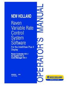 New Holland Raven Variable Rate Control System Software V21 1 Operator s Manual