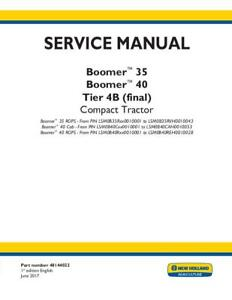 New Holland Boomer 35 Boomer 40 Cab rops Tier 4b final Compact Tractor Servic