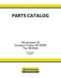 New Holland Workmaster 33 Compact Tractor W Rops Tier 4b Parts Catalog