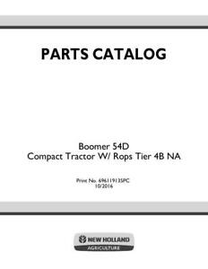 New Holland Boomer 54d Compact Tractor W Rops Tier 4b Na Parts Catalog