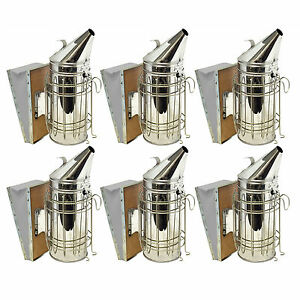 Bee Hive Smoker Stainless Steel With Heat Shield Beekeeping Equipment Set Of 6
