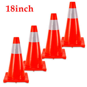 Wide Body 4 Pcs 18 Safety Cones Barriers Traffic Cones With Reflective Strip