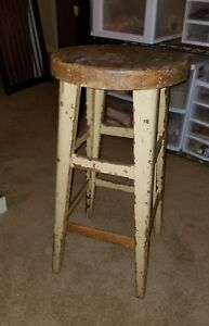 Vintage Drafting Shop Farm Country Store Stool Primitive Early Rustic