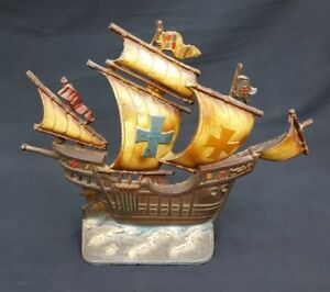 Vintage Cast Iron Colorful Old Wooden Sailing Ship Statue Door Stop