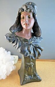 Antique Dated 1901 Beautiful Art Nouveau Woman Maiden Lady Plaster Bust Statue
