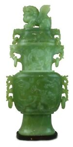 Vintage Hand Carved Natural Jade Protectors Vases Good Luck Chinese Collection