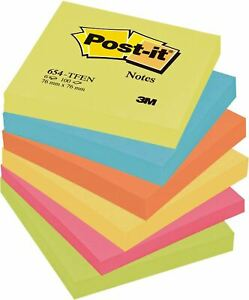 Post it Sticky Notes Removable Self Adhesive 76mm Neon Colours Paper Memo Pad