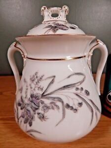 Large Antique Mid 1800 S Lidded Sugar Bowl Marked C F A