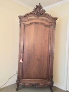 Antique French Furiture Armoire Matching Queen Bed