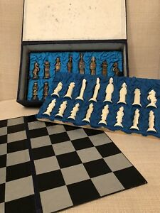 Antique Chinese Bone Bovine Carved Chess Set In Original Box