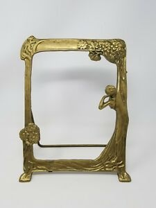 Vintage Art Deco Brass Rare Fairest Lady Picture Frame Mirror Lady Woman 8x10