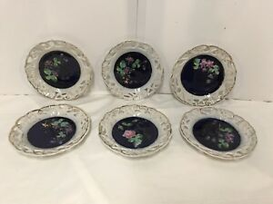 Six Antique Flow Blue Seven In Articulated Hand Painted Plates With Flowers