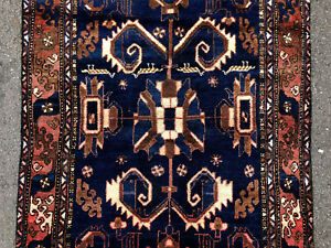 3x10 Blue Persian Runner Rug Wool Hand Knotted Antique Caucasian Viss Serapi