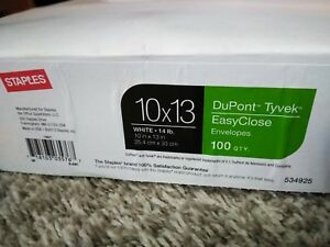 Staples Brand Dupont Tyvek Easy Close 10 X 13 Catalog Envelopes 100 box