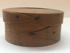 Early Antique Wood Shaker Pantry Box Fingers Round Signed Hingham Massachusett