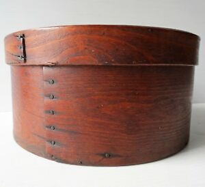 Antique Round Wood Pantry Box With Cover 9 Dia