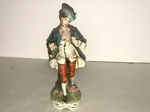 Capodimonte Man Carrying Flowers Vintage Figurine Crown With N Mark 8 Tall