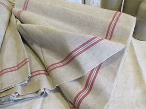 Vintage French Grainsack Torchon Linen Unused Red Green Stripe Sold By The Metre