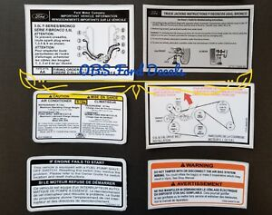 1992 96 Ford F150 F Series Bronco Radiator Support Decal Set Obs