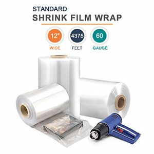 12 X 4375 Polyolefin Shrink Film Wrap Centerfold 60 Gauge Thick 1 Roll