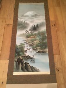 Collectable Vintage Japanese Silk Paper Wall Scroll Immaculate Condition