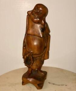 Carved Wood Statue Happy Buddha Made In Taiwan