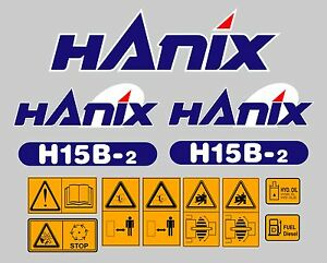 Hanix H15b Digger Complete Decal Sticker Set With Safety Warning Decals