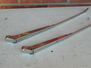 Wiper Arms pair Chrome Universal Vintage 15 5 Total Length Free Ship