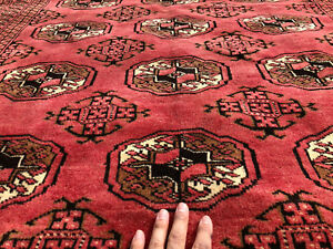 4x7 Red Persian Rug Wool Antique Caucasian Hand Knotted Oriental Black Rugs 4x6