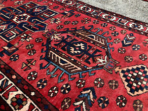 3x11 Antique Runner Rug Persian Hand Knotted Caucasian Heriz Red Oriental 3x10