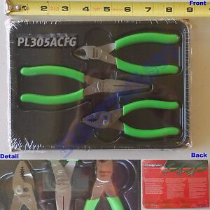 New Snap On 5 Green Soft Handle Pliers 3 Pcs Set Pl305acfg 85acf 95acf 44acf