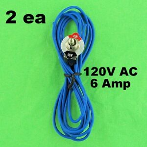 2ea Toggle Switch Spst Power 6a 120v Ac Dc Attached Wire Leads Wired Panel Mount