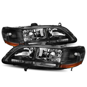 For 1998 2002 Honda Civic Coupe Sedan Black Crystal Headlights Replacement Set