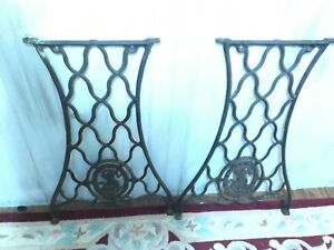 Antique 1887 Singer Cast Iron Sewing Machine Table Base Side Legs Set Of 2