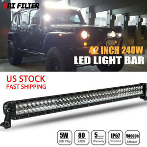 42inch 400w Curved Led Work Light Bar Flood Spot Combo Offroad Lamp F1 40 42