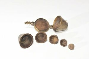 Antique Brass Nesting Scale Weights Set 6 Pc Apothecary 1lb Mercantile