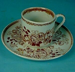 19thc English Baker Company Ironstone Persian Rose Demitasse Cup Saucer