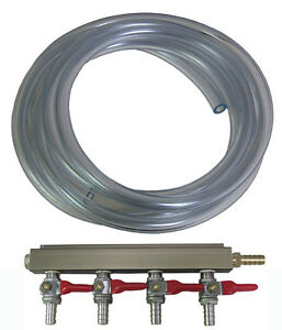 4 Way Gas Manifold Splitter For Home brew Draft Beer With 18 Ft Of Gas Line