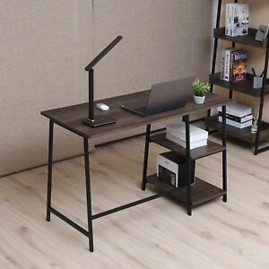 Wood Computer Desk Office Pc Laptop Table Workstation Study 2 layer Bookshelves