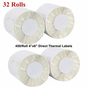 32 Rolls Of 450 Direct Thermal Shipping Perforated Labels 4x6 Zebra Zp450 2844