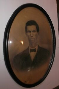 Antique Wooden Oval Bubble Glass Picture Frame W Distinguished Gent Pic 14 X 20