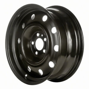 Remanufactured 17x7 Steel Wheel 5 Double Spoke Black Full Face Painted