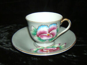 Vintage Hand Painted Demitasse Cup Saucer Pansy Made Occupied Japan Merit