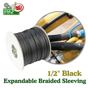 Nylon Sleeve Braided Cable Sleeving Guide Replace 1 2 Black All Leagth Lot